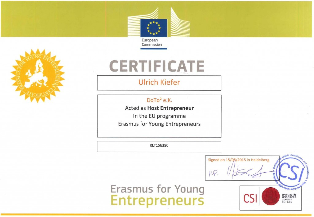 "(c)2015 Brussels, Belgium, The European Commision, University of Heidelberg, The EU Program ""Erasmus for Young Entrepreneurs"""
